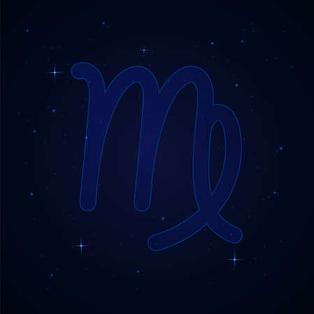 Virgo, the virgin zodiac sign on the starry night sky.
