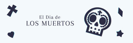 Sale web banner for the Dia de Muertos, Day of the Dead, promotions Иллюстрация