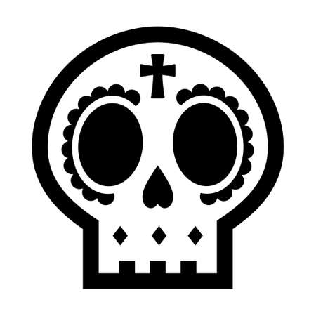 Cute sugar skull icon for the Day of the Dead decorations