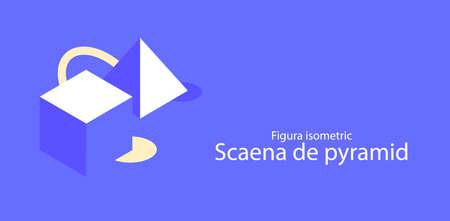 Isometric cube and pyramid. Abstract geometric background Illusztráció
