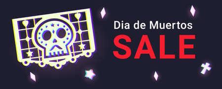 El Dia De Los Muertos Sale Web Banner. Day Of the Dead Clearance Promo Background 矢量图像