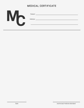 Medical certificate template. Blank form of a health examination results 矢量图像