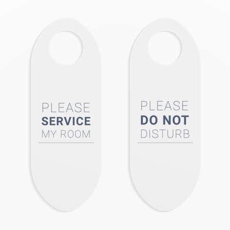 Please do not disturb door hanger. Servicing label for hotel rooms.