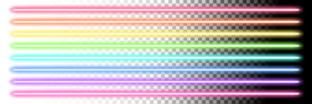 Neon glow sticks. Fluorescent laser line lights and disco lamps