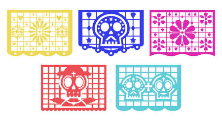 Banner for the Day of the Dead decorations. Mexican Dia de Muertos papel picado 矢量图像