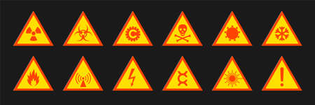 Triangular signs of a hazard warnings. Triangular signs with varied danger symbols