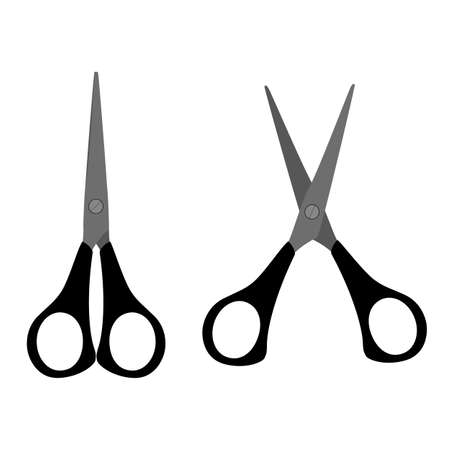 Stationery scissors flat icon. Open and closed tool for paper cut