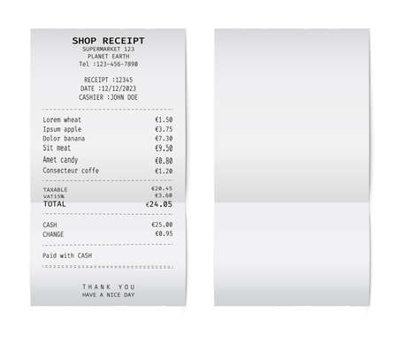 Template of a check from a shop or supermarket or restaurant. White cashier receipt 矢量图像