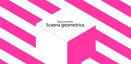 Abstract geometric background with a 3d isometric cube