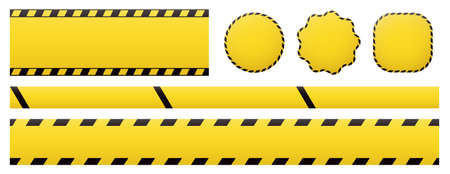 Barrier tapes and banners. Barricade lines and price tags. Industrial clip art and backgrounds. 矢量图像