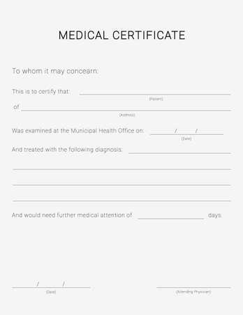 Medical certificate form. Sick leave pad template. 矢量图像