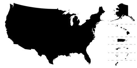 US map silhouette. Map of America and regions. USA frame background