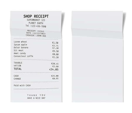 Template of a shop receipt. Mockup of a check from mall. Ilustração