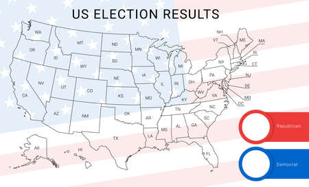 US election map. American Presidential Election results infographics template. All the states are separated and named in the layer panel. Ilustração