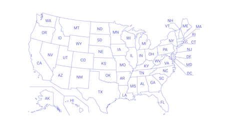 Outline Political US Map with titles of the states. All USA regions are separated and named in a layer panel