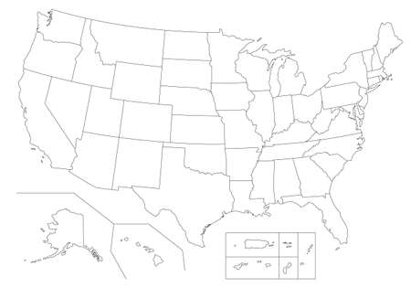 Outline United States Of America map. US background template. Map of America with separated countries and interstate borders. All states and regions are named in the layer panel.