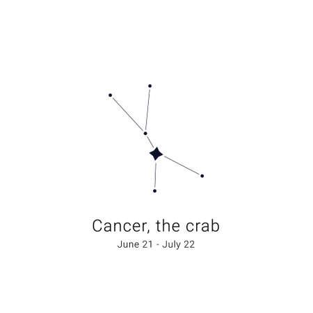 Cancer, the crab. Constellation and the date of birth range. Ilustração