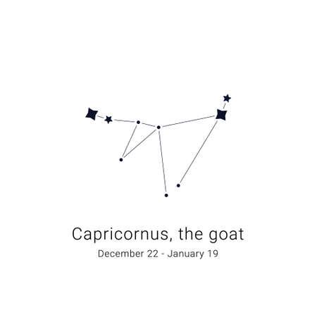 Capricornus, the goat. Constellation and the date of birth range.