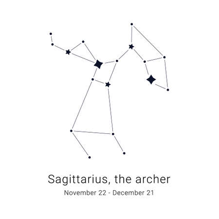 Sagittarius, the archer. Constellation and the date of birth range.