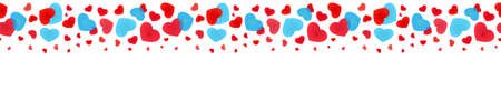 Seamless web banner of falling hearts for decoration, framing, edging, bordering, skirting and cornering 向量圖像