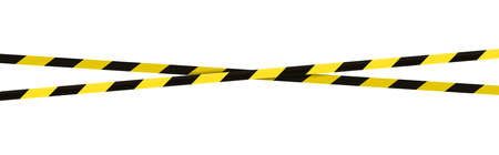 Crossed barrier tapes. Black and yellow barricade tape. Construction border. Accident or crime scene dividing line