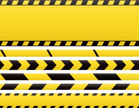 Seamless barricade tapes and web banners. Barrier line and blank construction border tape.