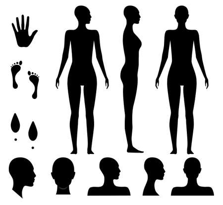 Human body silhouette of a bald naked barefoot adult woman. Anonymous female head avatar. Palm hand, bare feet and shoe trace.