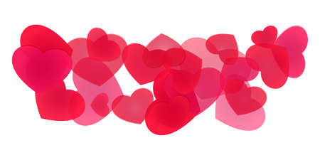 Decorative line of piled hearts of various sizes Vectores