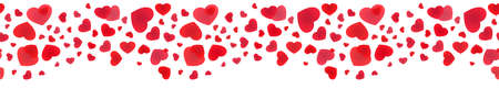 Decorative rain of hearts. Seamless panoramic banner of falling hearts.