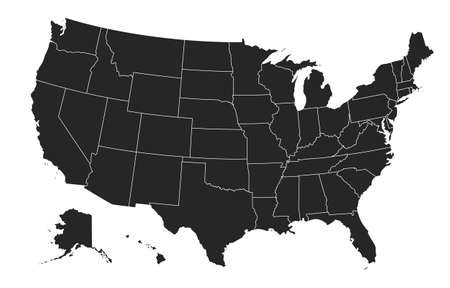 Black United States Of America map. US background template. Map of America with separated countries and interstate borders. All states and regions are named in the layer panel.