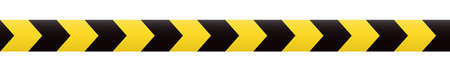 Seamless barrier tape. Construction border. Black and yellow restriction line. Do not cross boundary tape Ilustração