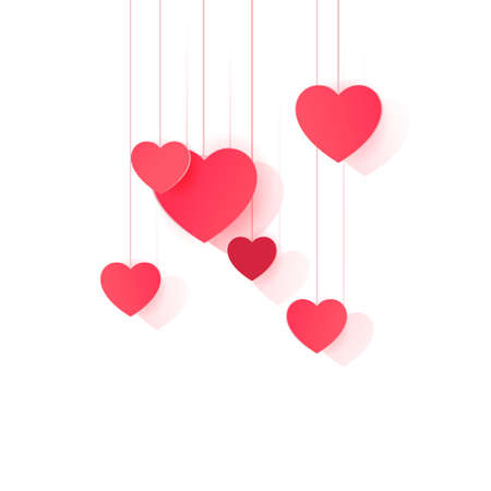 Hanging paper hearts clip art for design and decor