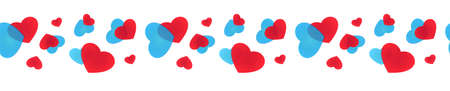 Seamless line of hearts for decoration, framing, edging, bordering, skirting and cornering