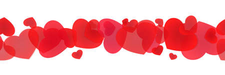 Seamless line with scattered hearts for package decoration, banner design, framing and edging