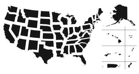 Set of separated American states. Divided USA map. All the countries are named in the layer panel
