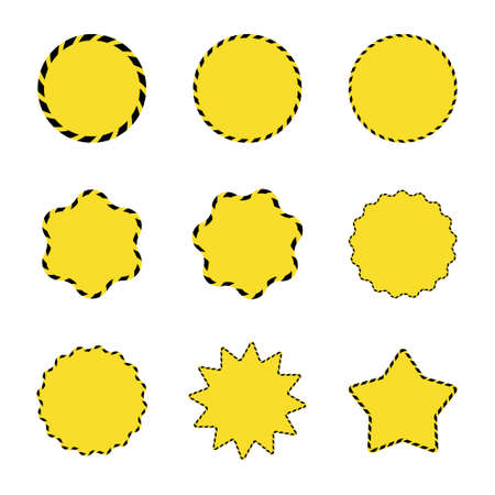 Set of yellow star and sun shaped barricade sale stickers. Promotional barrier tape labels.