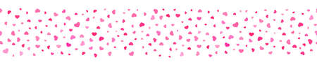 Seamless line of hearts for packaging, edging, framing and cornering
