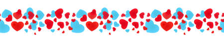 Seamless banner with scattered hearts. Decorative framing line with various hearts