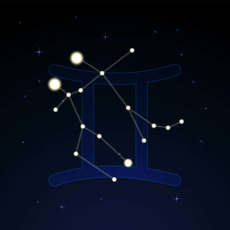 Gemini, the heavenly twins. Constellation and zodiac sign on the starry night sky.