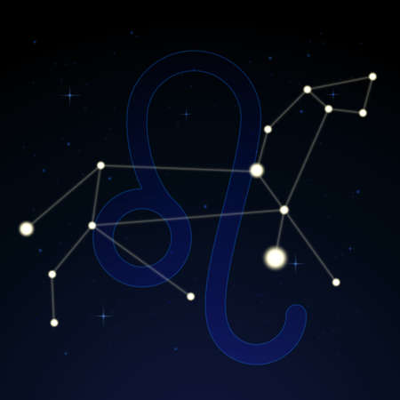 Leo, the lion. Constellation and zodiac sign on the starry night sky.