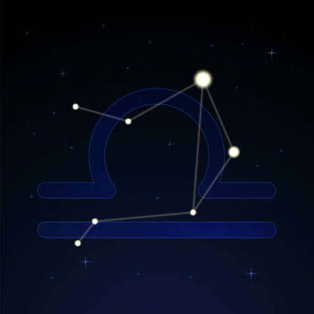 Libra, the scales. Constellation and zodiac sign on the starry night sky. Ilustração