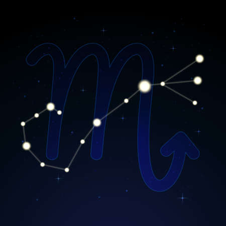 Scorpius, the scorpion. Constellation and zodiac sign on the starry night sky. Ilustração