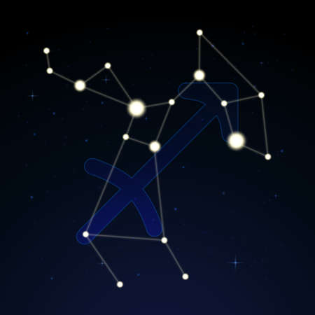 Sagittarius, the archer. Constellation and zodiac sign on the starry night sky.