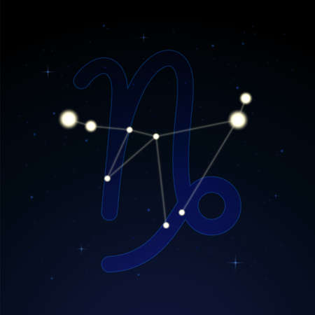 Capricornus, the goat. Constellation and zodiac sign on the starry night sky.