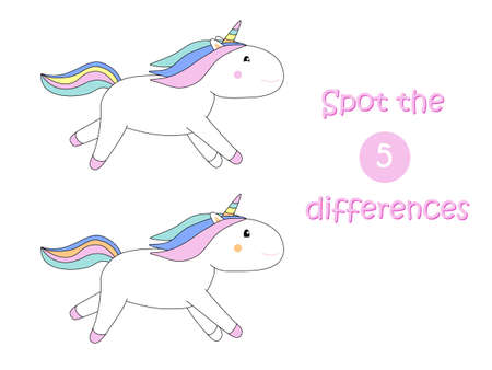 Spot the differences child educational game with unicorn Ilustração