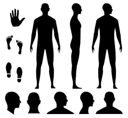 Human body silhouette of a bald naked barefoot adult man. Anonymous male head avatar. Palm hand, bare feet and shoe trace.