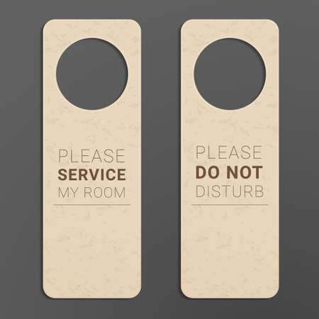 Hotel room door hanger. Do not disturb label.