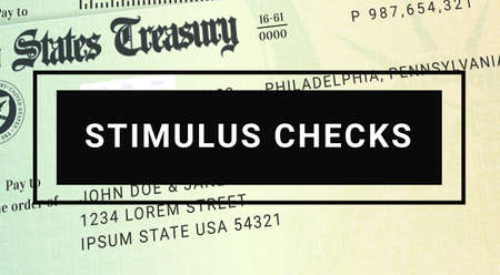 New Stimulus Check Update. Federal Relief Package News. Banco de Imagens - 165474860