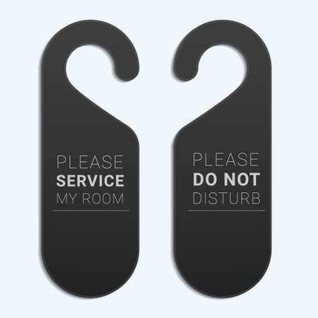 Do not disturb sign template. Door handle hanger. Ilustração