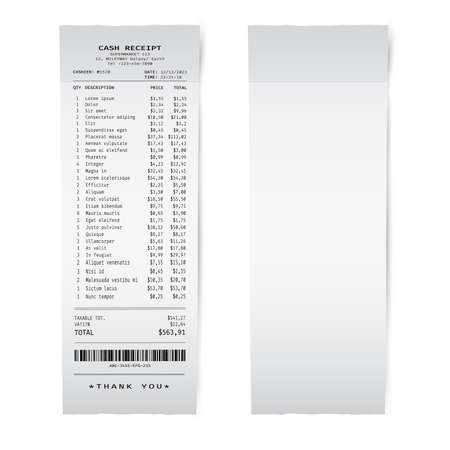 Blank white paper shop check. Template of a bill from supermarket of restaurant Ilustração